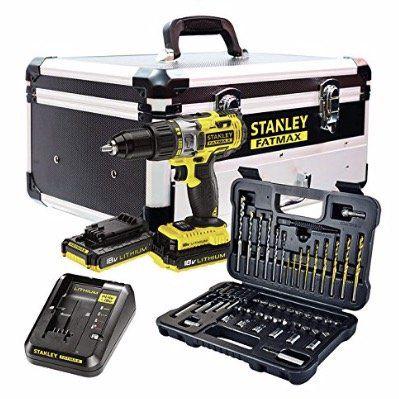 Stanley FatMax Kitaus Schlagbohrschrauber 18V und 50teiliges Zubehörpaket (2 Akkus + Ladegerät + Alu Koffer) für 142,11€ (statt 215€)