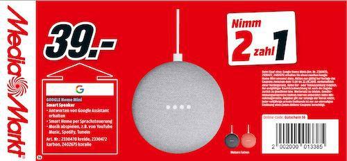 Media Markt Mega Gutscheinheft Aktion:  z.B. 2x Google Home mini nur 39€ (statt 74€) bis Mitternacht!