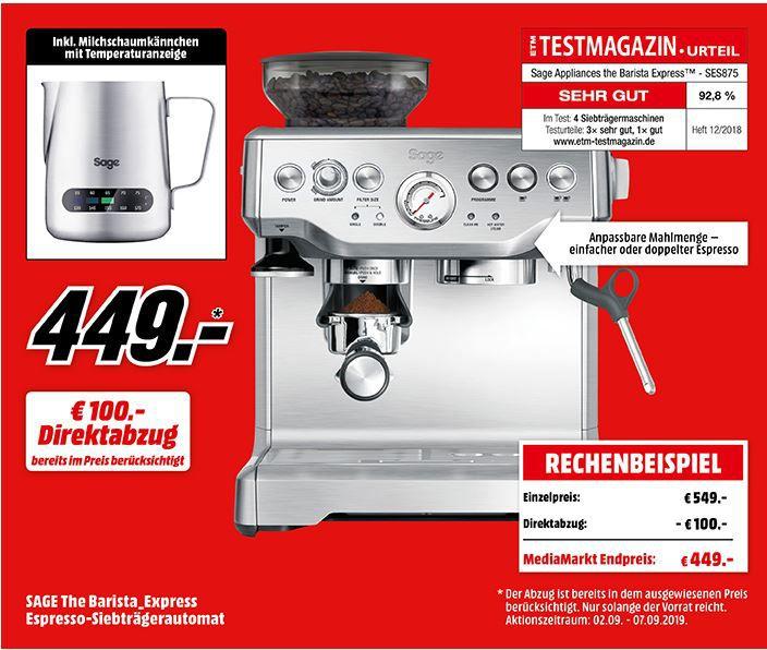 Tipp: Media Markt ab 8 Uhr neue Wochenangebote   z.B. SAGE the Barista Express Espressomaschine für 449€ (statt 504€)