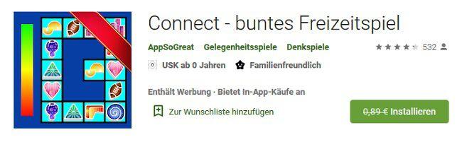 Android: Connect   buntes Freizeitspiel gratis (statt 0,89€)