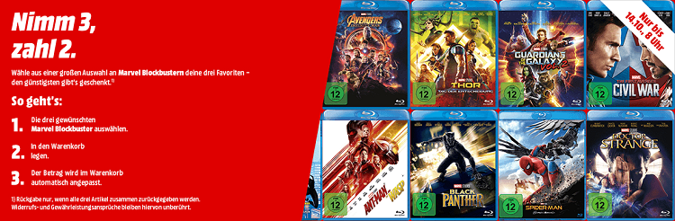 Marvel Aktion: 3 Filme auf Blu ray o. DVD kaufen   nur 2 bezahlen