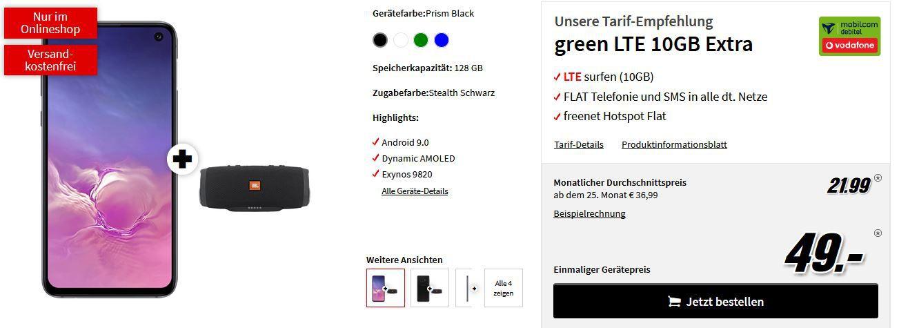 Galaxy S10e + JBL Charge 3 für 49€ + 10GB LTE Vodafone Flat für 21,99€ mtl.   auch S10 möglich