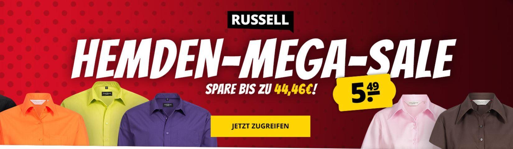Russell Sale mit vielen Deals   z.B. 5er Pack Herren T Shirts für 9,99€ oder Hemden für 5,49€
