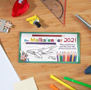 Kostenloser Kinder Mal Kalender für das neue Jahr 2021