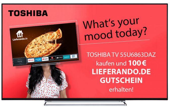 TOSHIBA 55U6863DAZ   55 UltraHD Smart TV für 479€ (statt 449€) + 100€ Lieferando Gutschein