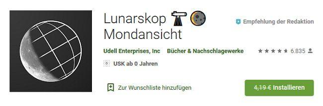 Android: Lunarskop Mondansicht kostenlos (statt 4,19€)