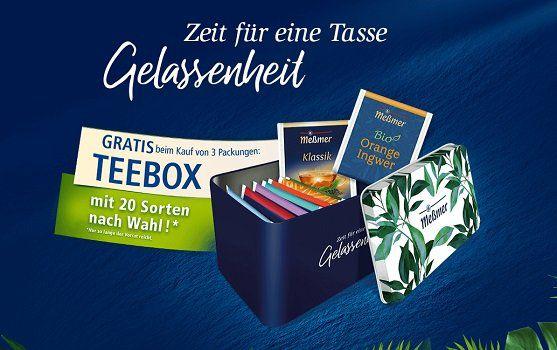 Meßmer: Teebox gratis anfordern beim Kauf von 3 Packungen