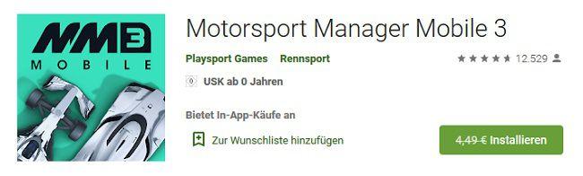 Android/iOS: Motorsport Manager Mobile 3 kostenlos (statt 4,49€)