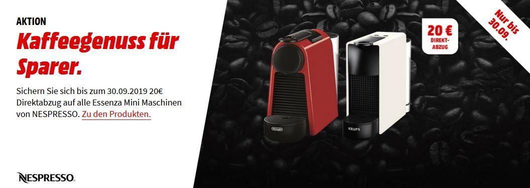 MM Nespresso Aktion:  DELONGHI Nespresso EN 85.R Essenza Mini Kapselmaschine für 53,99€ (statt 75€) + 40€ Kapselguthaben