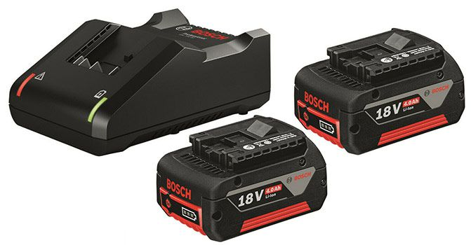 Bosch Schnellladegerät GAL 18V 40 Professional + 2 Bosch GBA 18V 4,0 Ah M C Akkus für 89,10€ (statt 119€)
