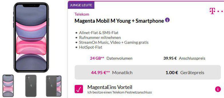 Apple iPhone 11 128GB für 1€ + Telekom Magenta Mobil M Young mit bis zu 24GB LTE ab 44,95€ mtl.