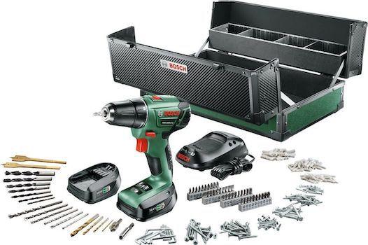 Bosch PSR 1440 LI 2 Akku Bohrschrauber mit 2 Akkus, Ladegerät, Toolbox und 241 tlg. Zubehör für 88€ (statt 120€)