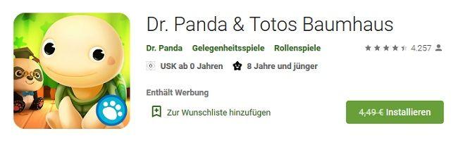 Android/iOS: Dr. Panda & Totos Baumhaus gratis (statt 4€)