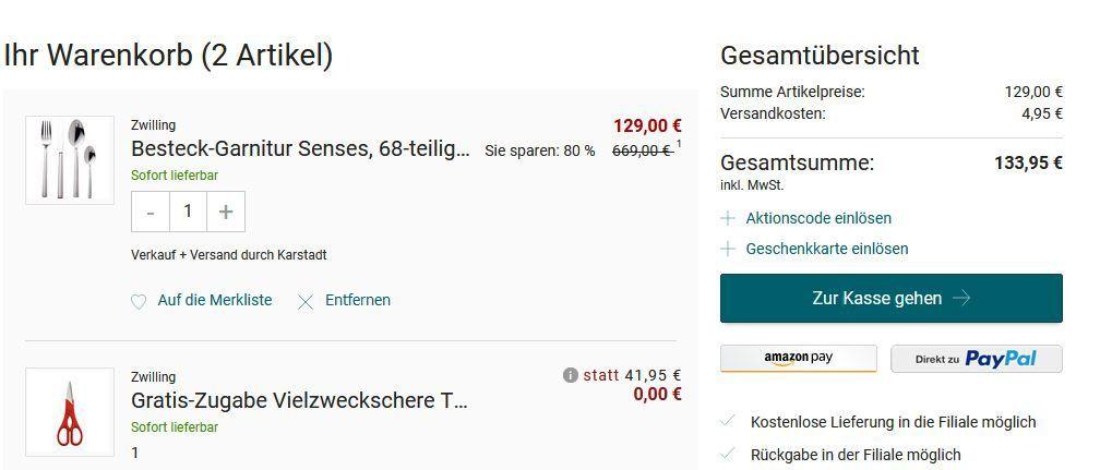Top! Zwilling Senses   68 teiliges Besteckset + Vielzweckschere TWIN rot für 114,90€ (statt 273€) nur bis Mitternacht