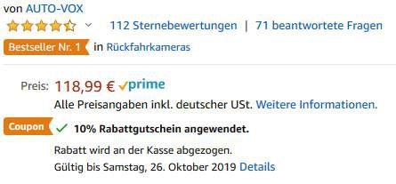 AUTO VOX W7 Funkrückfahrkamera inkl. 5 Zoll Display für 71,39€ (statt 119€)
