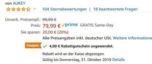 Aukey EP B80   Key Series BT 5.0 InEars mit 8h Spielzeit für 47,99€ (statt 80€)