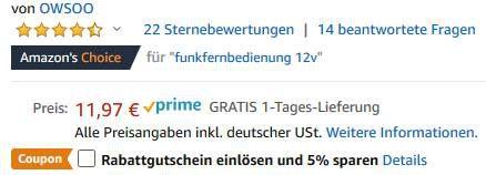 2er Pack: 12V Funkfernbedienung inkl. Relais für 5,38€   Prime