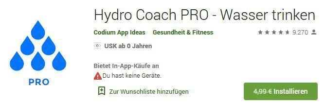 Android: Hydro Coach PRO   Wasser trinken kostenlos (statt 4,99€)