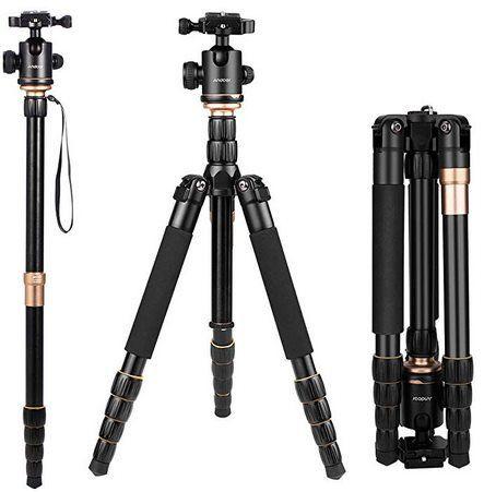 Andoer Q666  Kamerastativ (156cm) mit  360° Kugelkopf für 41,99€ (statt 70€)