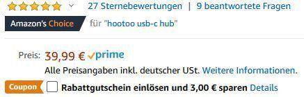 HooToo USB C Hub mit drei USB Anschlüssen, 4K HDMI, SD Kartenleser für 24,99€ (statt 40€)
