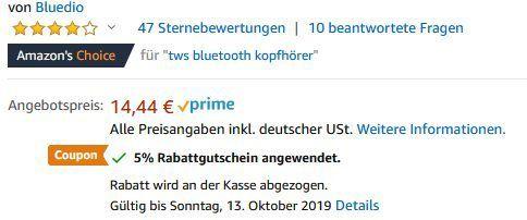 Bluedio Hi   Bluetooth 5.0 TWS mit 5h Abspielzeit & Ladecase für 13€   Prime