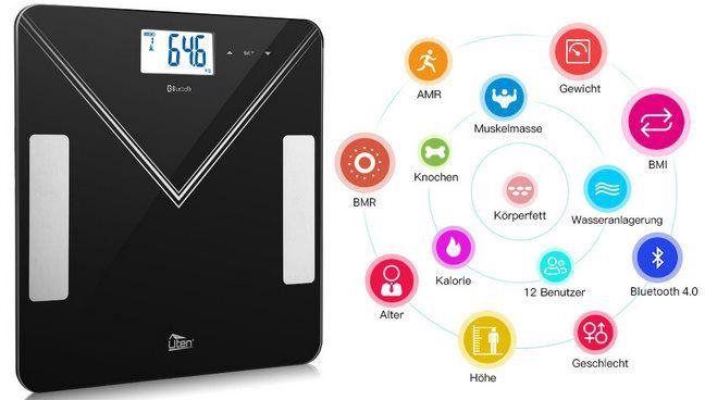 Digitale Körperfettwaage mit Bluetooth & APP Anbindung für 14,99€ (statt 22€)