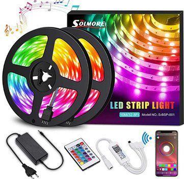 Solmore 2x 5m LED Streifen mit 300LEDs inkl. App Steuerung & Fernbedienung für 20,99€ (statt 35€)