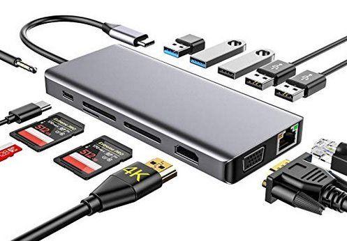 13in1 USB C Hub mit  2x USB 3.0, HDMI, RJ45 , Type C Ladefunktion & mehr für 30,99€ (statt 60€)