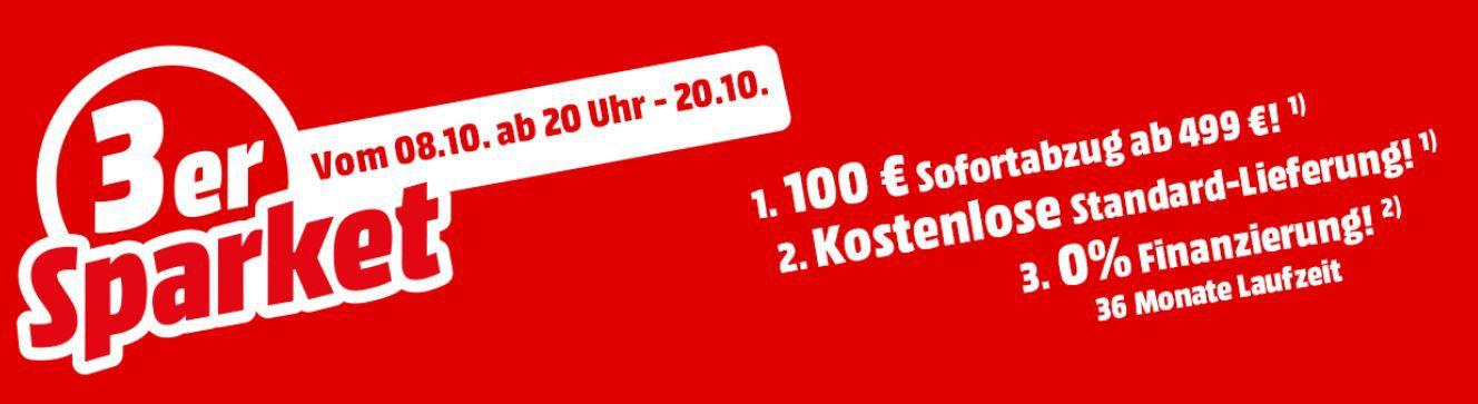 Media Markt 3er Sparpaket ausgewählte Küchen  u. Haushaltsgeräte ab 499€ mit 100€ Sofortrabatt +VSK frei