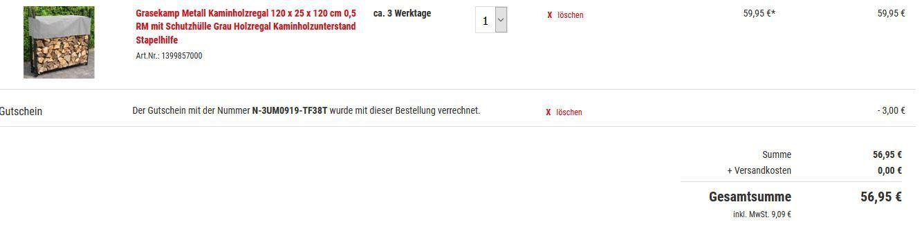 Grasekamp Metall Kaminholzregal 0,5 RM mit Schutzhülle ab 56,95€ (statt 69€)