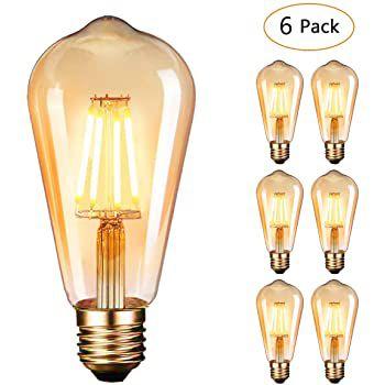 6er Pack: Edison Vintage 4W E27 LED Glühbirne für 14,99€   Prime