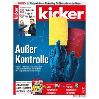 13 Ausgaben vom Kicker für 71,50€   Prämie: 75€ BC Gutschein