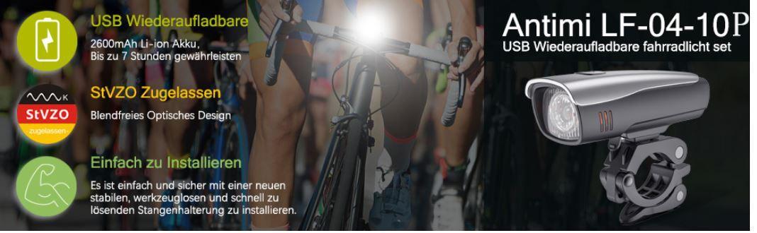 Top! Antimi LED Fahrrad Vorder  und Rückbeleuchtung nach StVZO für 17,49€ (statt €35)