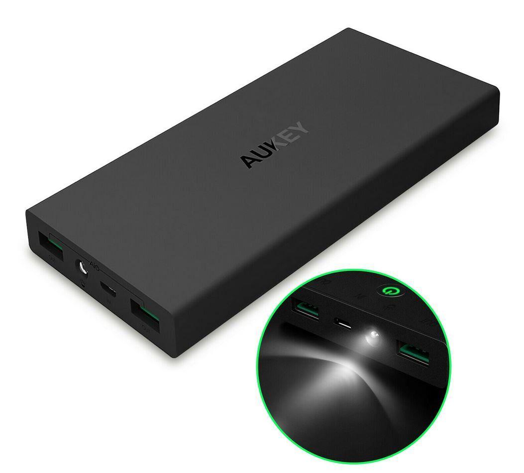 Aukey PB N27 Powerbank 16.000 mAh 2 USB Ports inkl. Taschenlampen Funktion für 14,99€ (statt 22€)
