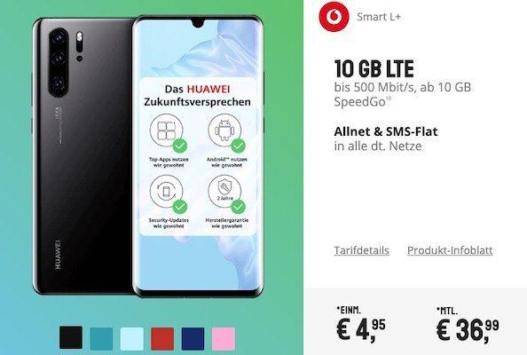 Huawei P30 Pro + Huawei SoundStone Lautsprecher für 4,99€ & Vodafone Flat mit 10GB LTE für 36,99€ mtl.   junge Leute 15GB LTE