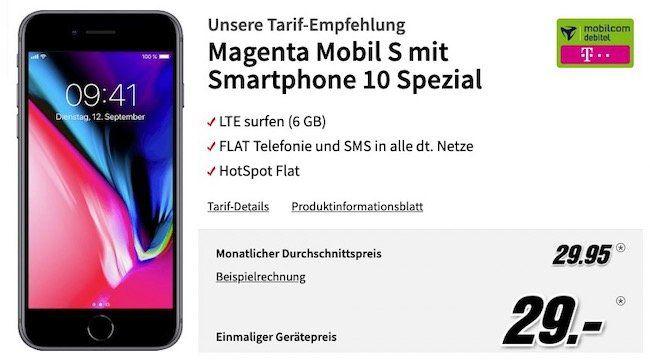 Apple iPhone 8 für 29€ + Telekom Flat mit 6GB LTE für rechn. 29,95€mtl.