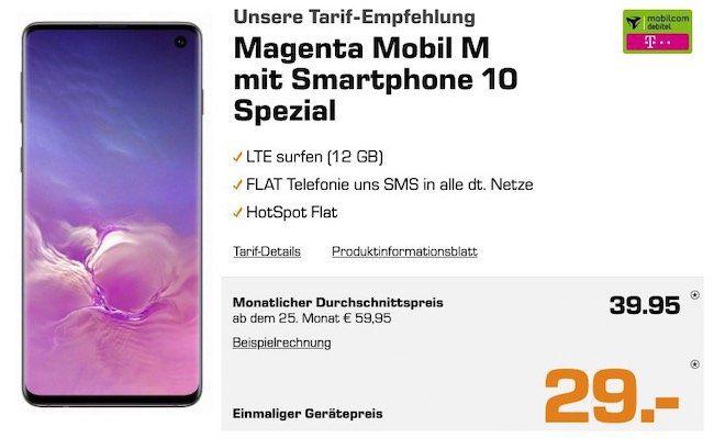 Samsung Galaxy S10 für 29€ + Telekom Flat mit 12GB LTE für rechn. 39,95€ mtl.