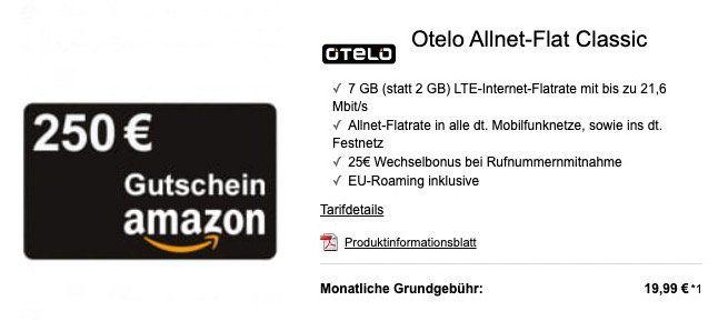 Vodafone Allnet Flat von otelo mit 7GB LTE für 19,99€ mtl. + 250€ Amazon Gutschein