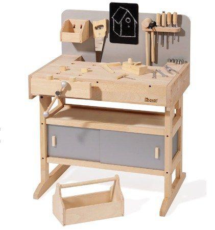howa Kinderwerkbank aus massivem Hartholz inkl. Werkzeugkiste mit 32 Werkzeugen für 136,49€ (statt 170€)