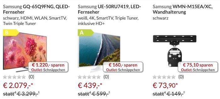 20% Rabatt im Alternate Outlet   z.B. Samsung GQ55Q60R QLED für 645€ (statt 777€)