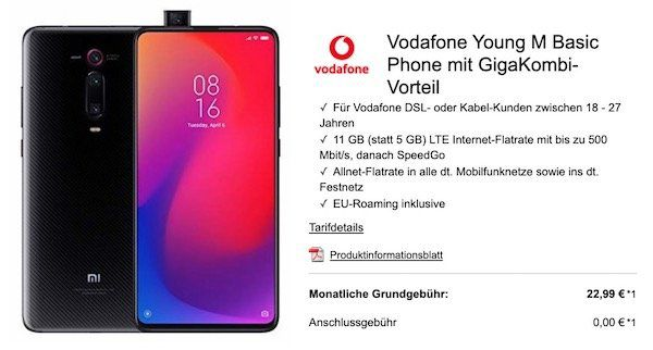 Junge Leute + Gigakombi: Xiaomi Mi 9T Pro nur 4,99€ + Vodafone Flat mit 11GB LTE für 22,99€ mtl.