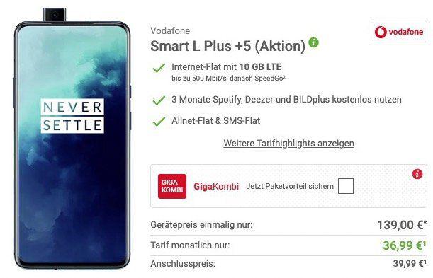 OnePlus 7T Pro für 139€ + Vodafone Flat mit 10GB LTE für 36,99€ mtl.