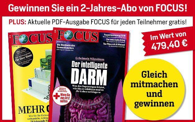 1 Ausgabe Focus digital gratis + 2 Jahresabo Gewinnspiel