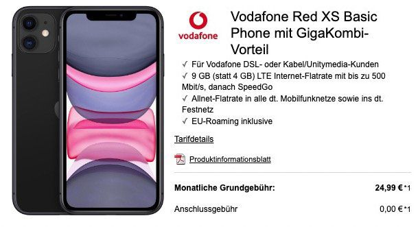 Gigakombi: iPhone 11 64GB für 359€ + Vodafone Red XS 9GB LTE für 24,99€ mtl.