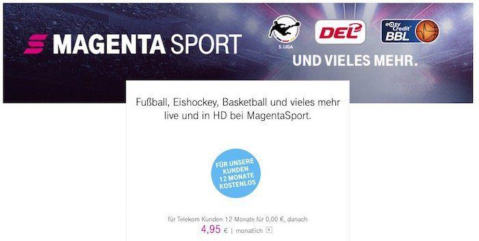 12 Monate Telekom MagentaSport kostenlos für alle Bestandskunden (statt 59€)