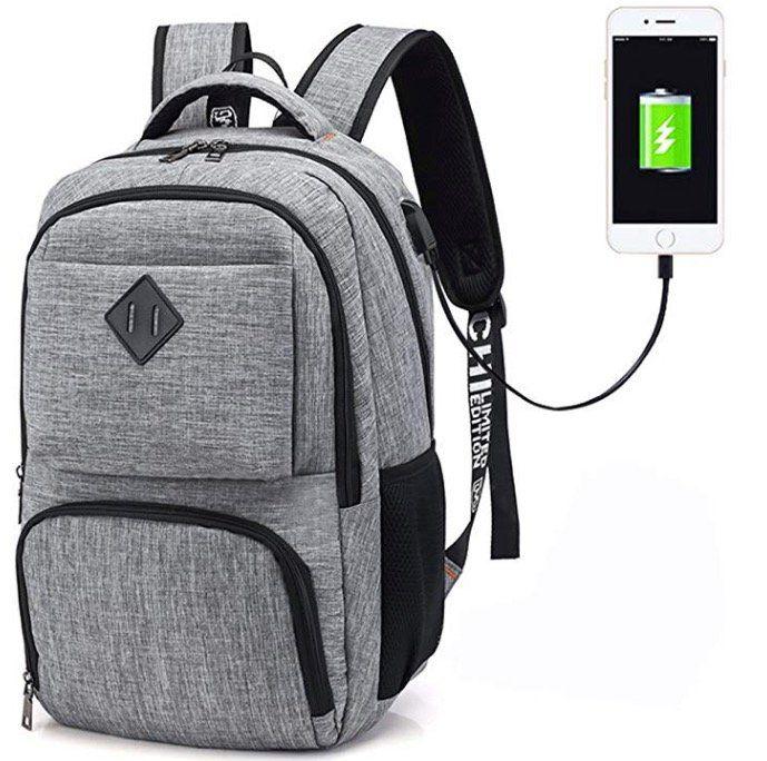 Hotchy Laptop Rucksack mit USB Ladeanschluss und Sicherheitsschloss für 11€ (statt 22€)   Prime