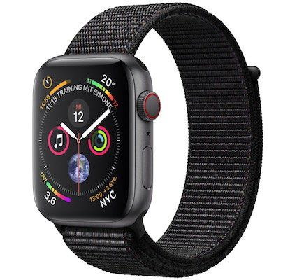 Ausverkauft! Apple Watch Series 4 GPS + Cellular 44mm in Space Grau mit Nylon Armband für 421,63€ (statt 499€)