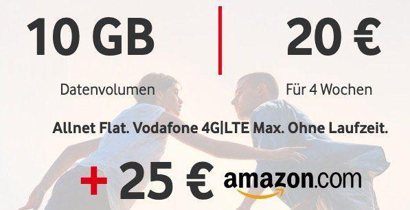 Vodafone CallYa Digital mit 10GB LTE für 20€ / 4 Wochen + 25€ Amazon Gutschein