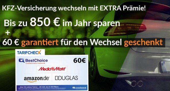 🔥 Tarifcheck: Kfz Versicherung wechseln (bis zu 850€/Jahr sparen) + 60€ Gutschein