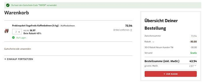 Knaller! Bei Kaffeevorteil satte 30€ Rabatt ab 70€ MBW   z.B. 6kg Lavazza Qualita Rossa nur 43€ (statt 66€)